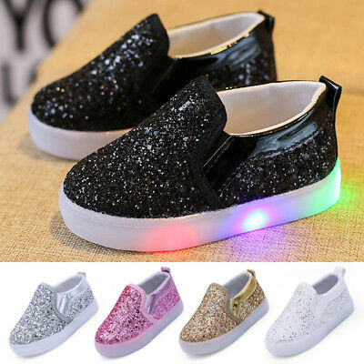 Kids Flash LED Light Up  Boys Girls Trainers Luminous Sneaker Infant Shoes 2019