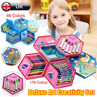 Deluxe Art Creativity Set Children Kids Crayons Painting Drawing Kit Sets GIFT