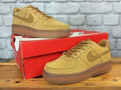 Nike Uk 3 Eu 35.5 Air Force 1 Lv8 3 Wheat Suede Gum Trainers Childrens Ladies Ep