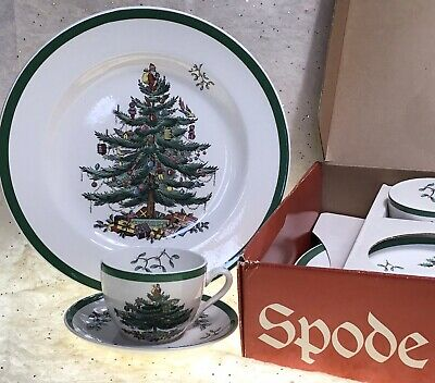 6 Spode Christmas Tree Buffet 3 Pc Box Sets -Plate, Cup & Saucer Made in England