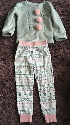 Girls Ho Ho Ho Soft Touch Xmas Christmas Pj's Pyjamas Bnwt 4-5 Years Present New