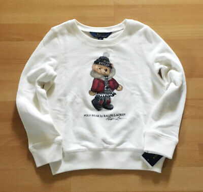 Polo Ralph Lauren Bear Girls Sweatshirt WHITE Limited Edition Bear Collection