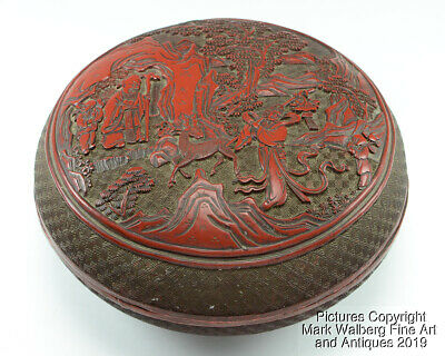 Chinese Carved Cinnabar Lacquer Round Covered Box, Immortals, Deer, Boys, 19th C