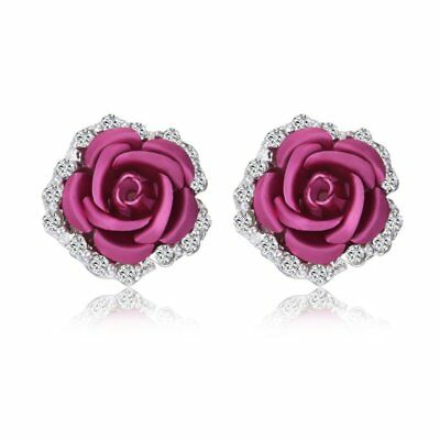 Elegant Crystal Rose Flower Ear Lady Jewelry Rhinestone Stud Earrings Jewellery