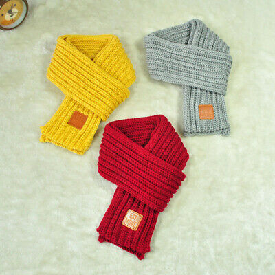 1Pcs Lovely Winter Warm Children Knitted Scarf Solid Color Thicken Neck Scarves