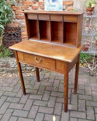 Oak Arts & Crafts Galleried Desk With Bookcase~Pigeon Holes~Filing Compartments