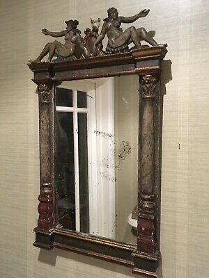 Painted Carved Wood Antique Italian ,florentine, Venetian Classicl Mirror 59x34