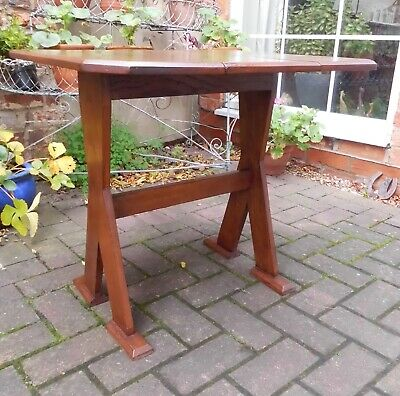 Oak Arts & Crafts/Art Deco Style Twist-Top Dropside Table~Canted Corners