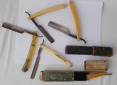 5 Vintage Straight RAZORS: Made in USA, France, Germany + 2 Boxes