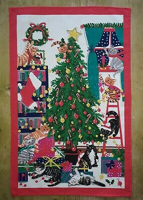 Christmas Cats Cotton Tea Towel By Ulster Weavers