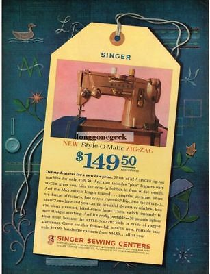 1961 Singer Style-O-Matic Zig Zag Sewing Machine Vintage Print Ad