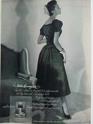 1953 Hattie Carnegie beige cologne women's black party dress vintage fashion ad