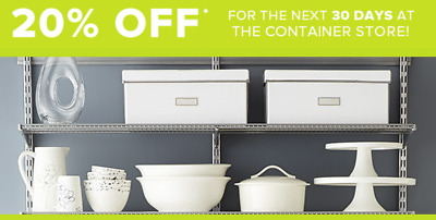 The Container Store Couponn 20% Off Purchase/Entire Order~Unlimited Uses to 12/4
