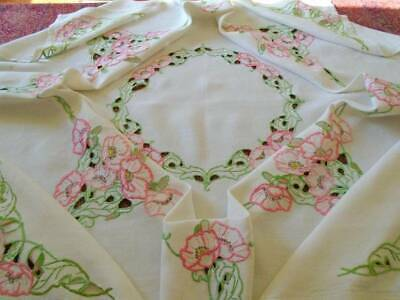 Gorgeous Lg.vintage Hand Embroidered Linen Tablecloth~Pink Roses~Superb Stitches