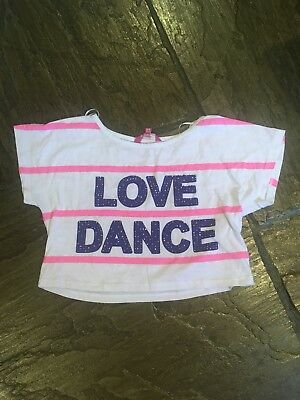 Pineapple Top Age 12-13 Years Girls White With Pink Stripes VGC