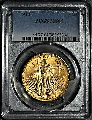 1924 $20 St. Gaudens Gold Double Eagle Coin, Certified By Pcgs Ms64,  Jd48