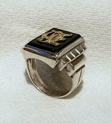 Antique Ostby Barton Titanic Gold Sterling Onyx Large Signet Ring Initial 8 1/2