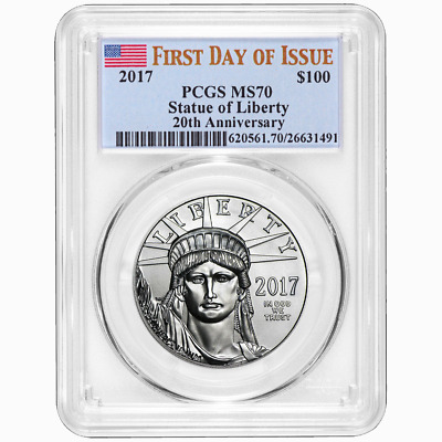 2017 $100 American Platinum Eagle PCGS MS70 FDOI Flag Label