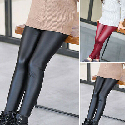 Child Girls Slim Fit Skinny Pants Faux Leather Wet Look Leggings Warm Trousers
