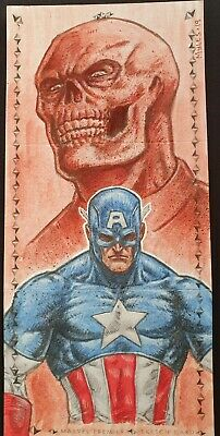 2019 Marvel Premier 3 panel Captain America/Red Skull Sketch by Myles Wohl 1/1