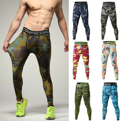 Mens Leggings Compression Thermal Under Base Layer Fitness Pants Trousers Skins