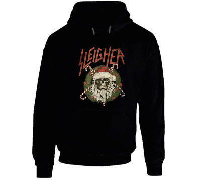 SLAYER Sleigher Christmas Skull Rock Cotton Black Men S-XL Hoodie Shirt K907