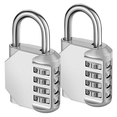 2pcs Padlock 4-Digit Combination Lock Password Security Bag Travel Luggage Set