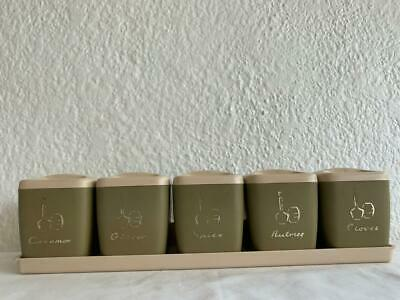 VINTAGE RARE RETRO GENUINE NALLY PRODUCT 5pc SPICE CANISTER SET KITCHEN HANGING