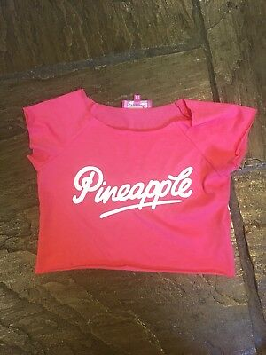 Girl's Pineapple Pink Short Sleeved Cropped T-Shirt Age9-10years VGC