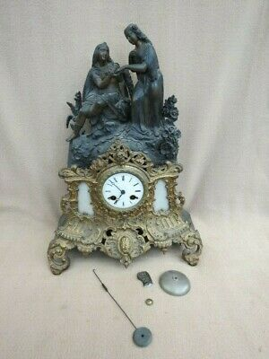 Antique French Silk Suspension Vincenti Figural Clock For Spares Or Repair
