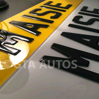Pair Of 3D Gloss Black Domed Resin Raised Gel Reg Car Van Number Plates Legal