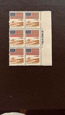 US Stamps, Scott #1890 18c 1981 Block of 6 with selvage. US flag VF/XF M/NH