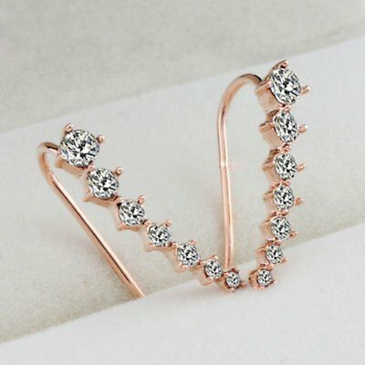 Women Fashion Rose Gold Plated Crystal Rhinestone Hook Stud Earrings Jewellery