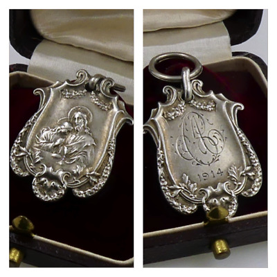 Rare!!1914 Ww1 Antique Solid Silver +The Lovers+Medal Initials Religious Wedding
