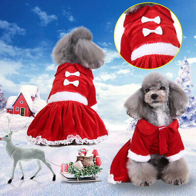 Pet Puppy Dog Cat Christmas Xmas Santa Claus Costume Outfits Fancy Clothes Dress
