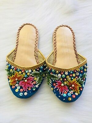 Vintage Turquoise Velvet  Beaded & Sequins Hong Kong Slippers Mules Kids Boho