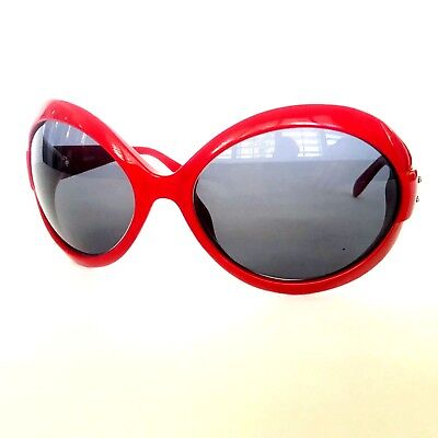 Vintage 90s Moschino Sunglasses Oval  Red 3717-S 597/80 120 ITALY