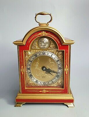 Elliott Of London Cherry Red Chinoiserie Mantel Clock with gold & black dial