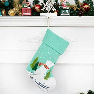 LUBOTS 20 Inch Christmas Stockings Embroidered Linen Burlap 1 Pack Polar Bear