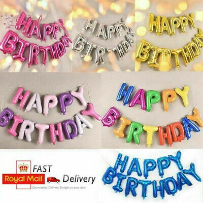 Happy Birthday Balloons Banner Bunting Self Inflating Decoration Letters Balloon