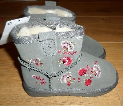 Marks & Spencer Girls Suede Water Repellent Grey Embroidered Boots - Size 11-NEW