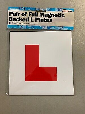 2 x GENUINE FULLY MAGNETIC L PLATES SECURE Quick And Easy To Fix Learner Plate