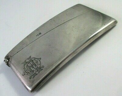 ANTIQUE c.1899 DEAKIN & FRANCIS ENGLISH STERLING SILVER CURVED CALLING CARD CASE