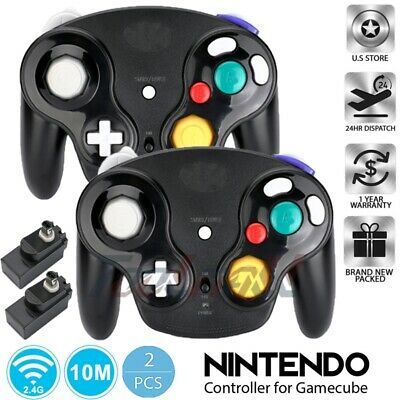 2Pack BLACK Wireless Gamecube Controller w/ Adapter for Retro Classic Wii GC NGC