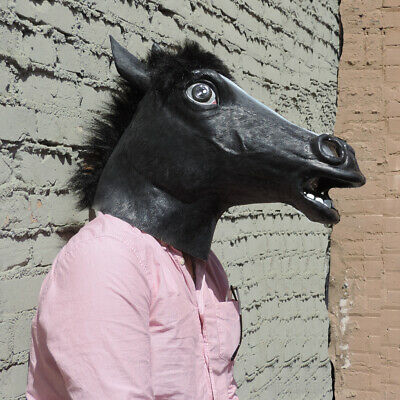 Black Horse Head Mask Latex Black Mare Stallion Pony Costume