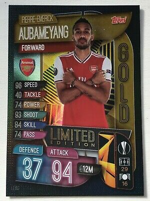 Match Attax attaque 2019//20 19//20 LE8G P-E Aubameyang Gold Limited Edition card