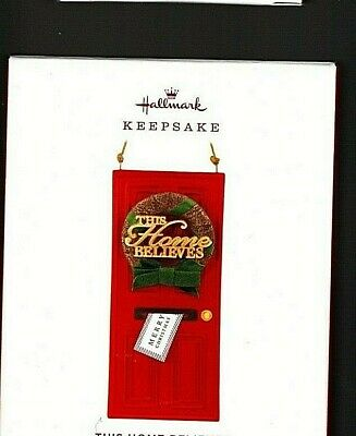This Home Believes Red Door with wreath 2019 Hallmark Keepsake Ornament