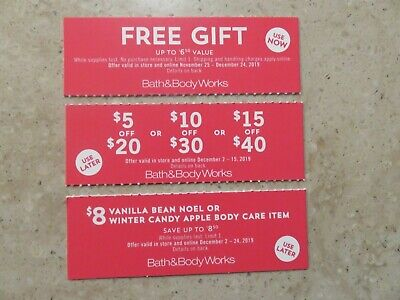 BATH & BODY WORKS COUPONS (3) Gift $5 $10 $15 OFF Body Care Item Holiday