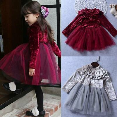 Kids Baby Girls Princess Velvet Tulle Party Pageant Dress XMAS Outfit Size 0-4Y