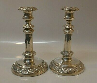 Antique Georgian Dated 1811 Sheffield Weighted Sterling Silver Candle Sticks